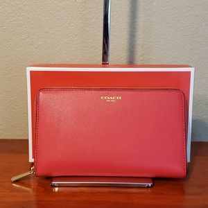 NWT Coach Red Leather Zip-Around Wallet